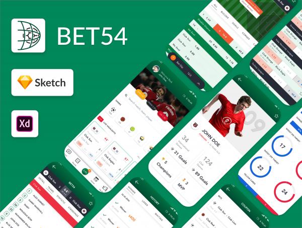 دانلود طرح لایه باز رابط کاربری اپلیکیشن ورزشی Sport Bets App UI Kit