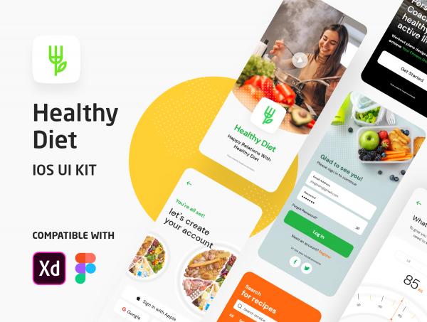 دانلود طرح لایه باز رابط کاربری اپلیکیشن رژیم غذایی Healthy Diet